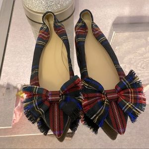 New J Crew Plaid Bow Tie Flats
